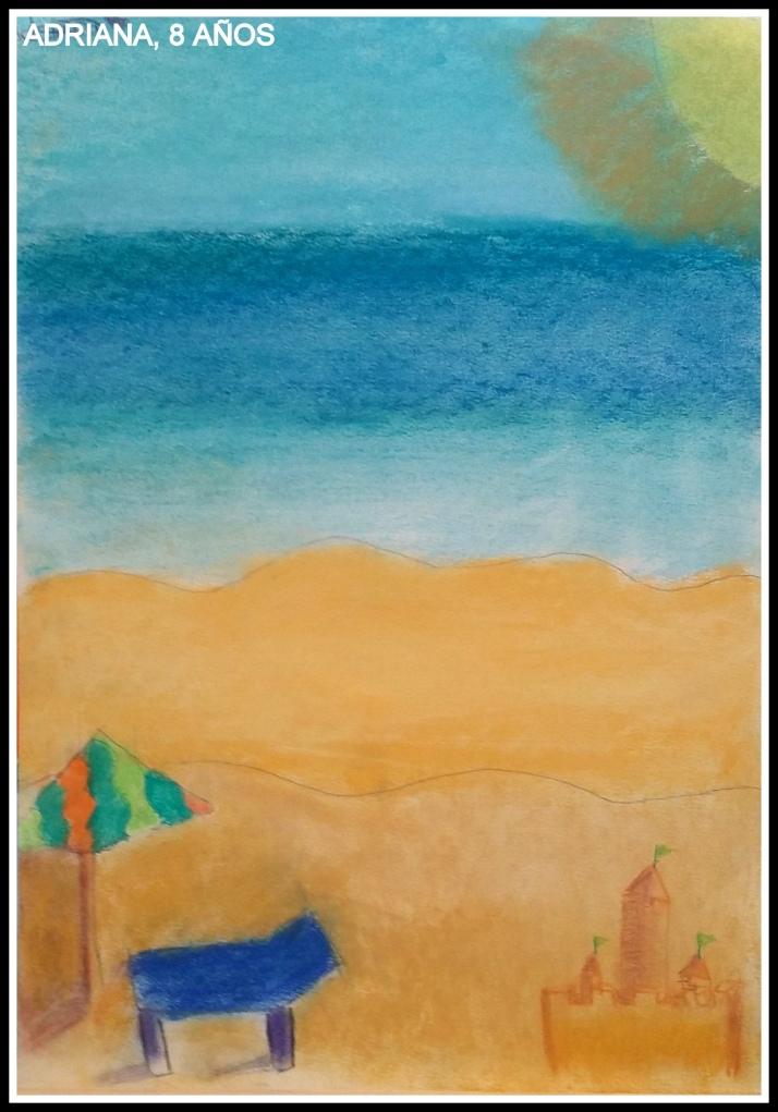 cuadro de playa pitnado en pastel por niña