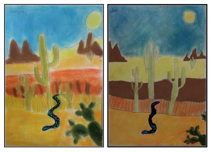 dibujos del desierto con ceras por niños