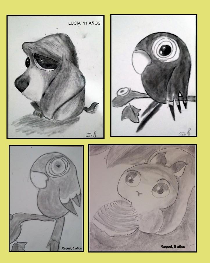 perro, loro y aridlla pintados en carboncillo por niños
