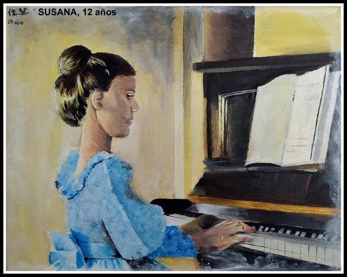 CUADRO NIÑA TOCANDO EL PIANO AL OLEO Y ACRILICIO PINTADO POR NIÑA DE 12 AÑOS