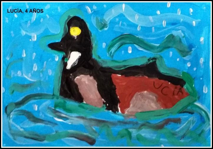 dibujo de pato con temperas para niños 4 años