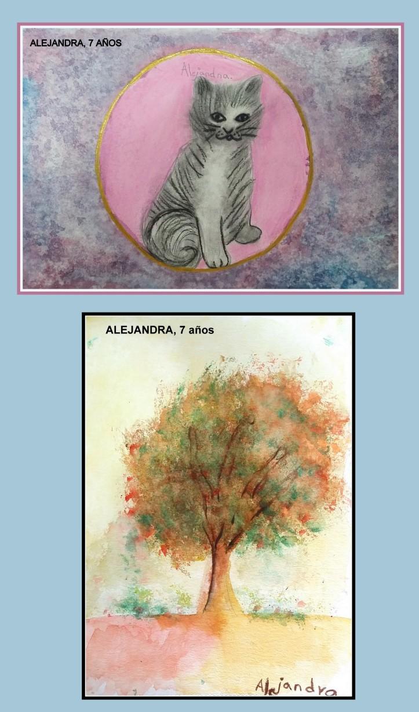 dibujos arboles y animales en acuarela para niños