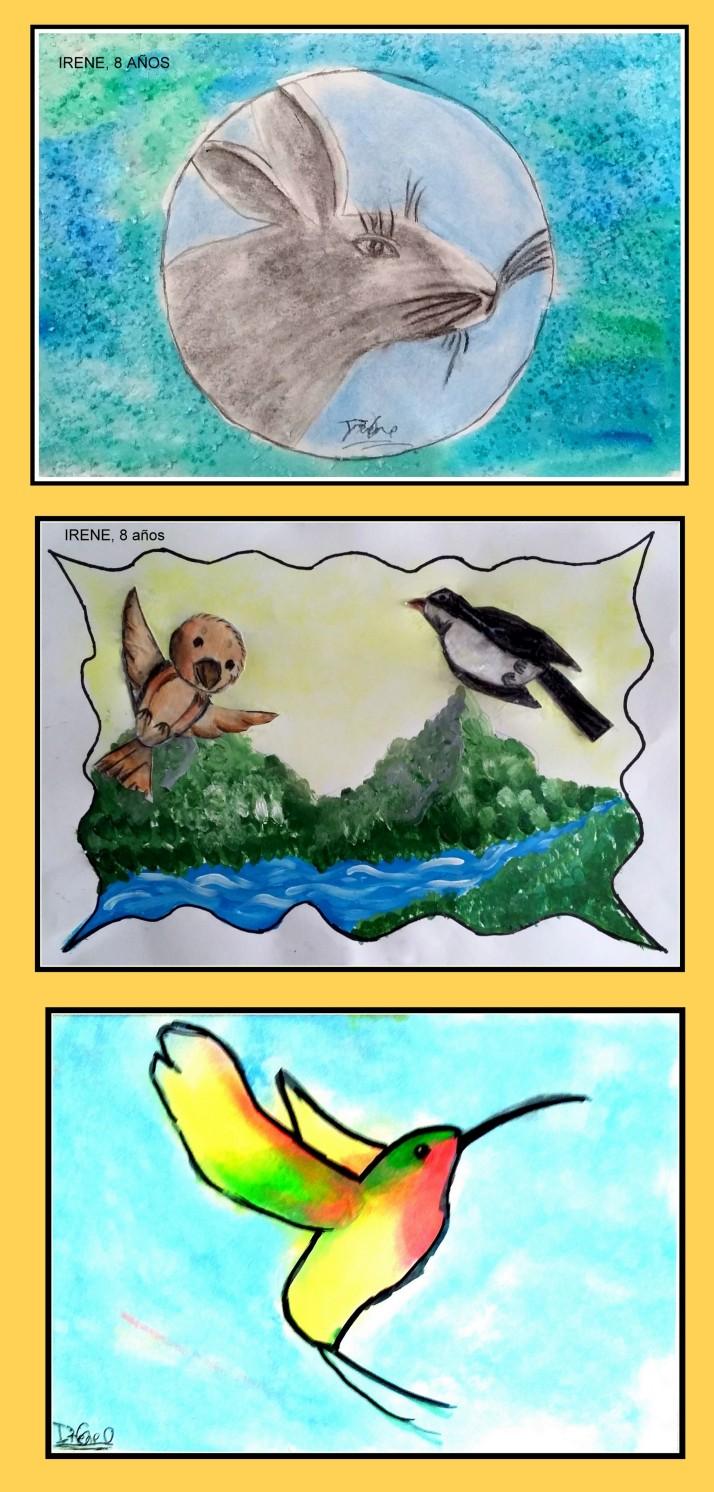 dibujos arboles y animales en acuarela y pastel para niños