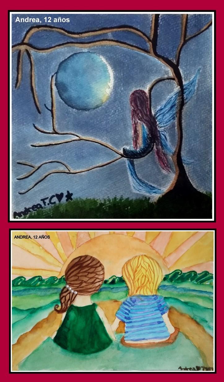 dibujos de amistad y fantasia en acuarela hechos por niña de 12 años