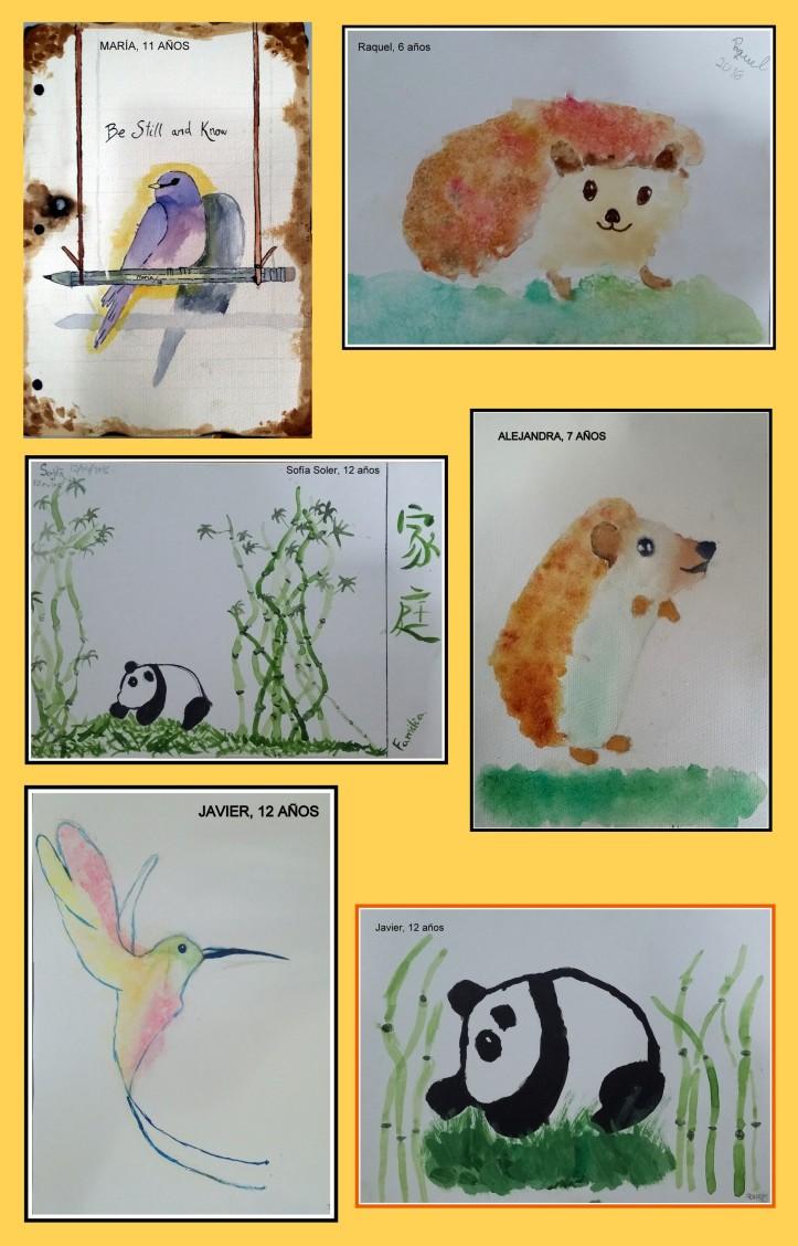 dibujos de animales pintados en acuarela POR NIÑOS