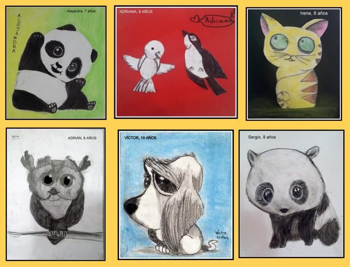 dibujos de animales pintados en carboncillo y pasteles POR NIÑOS