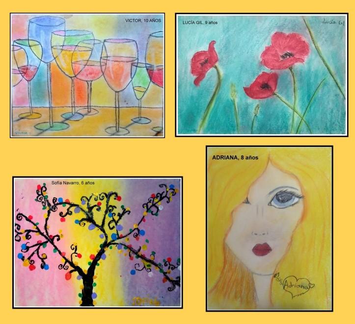dibujos tecnica pastel copas cristal, flores, retrato y arboles fantasia por niños