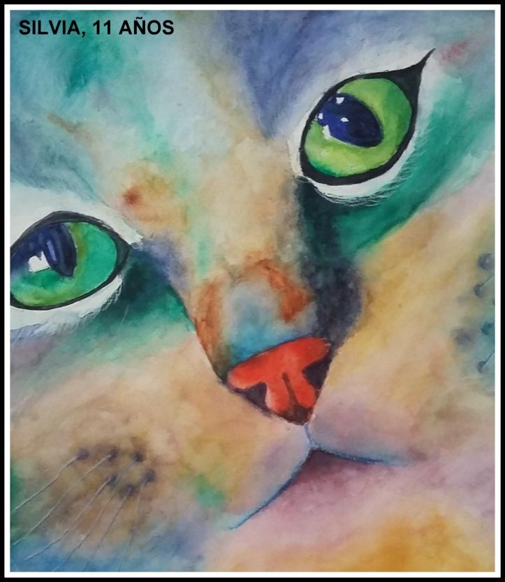 gato pintado con acuarelas por niña de 11 años