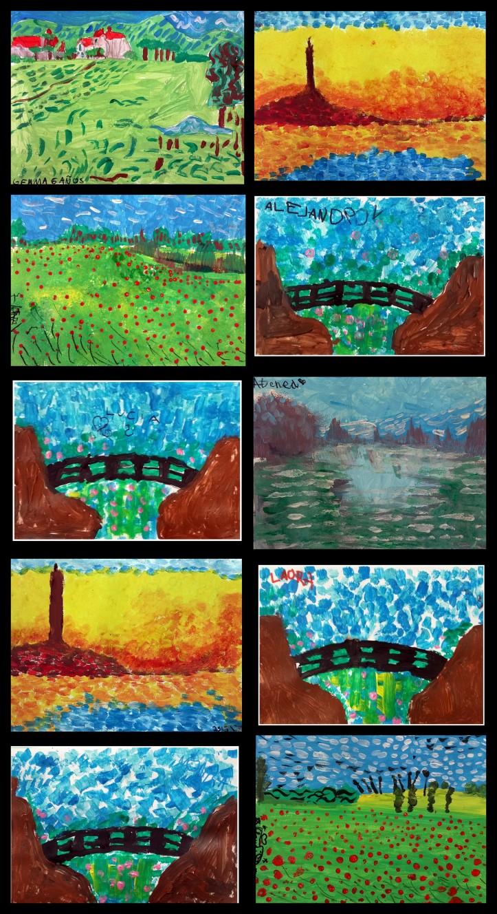 cuadros de paisajes impresionistas realizados por niños de 4 a 7 años MONET  VANGOHG PISARRO TURNER