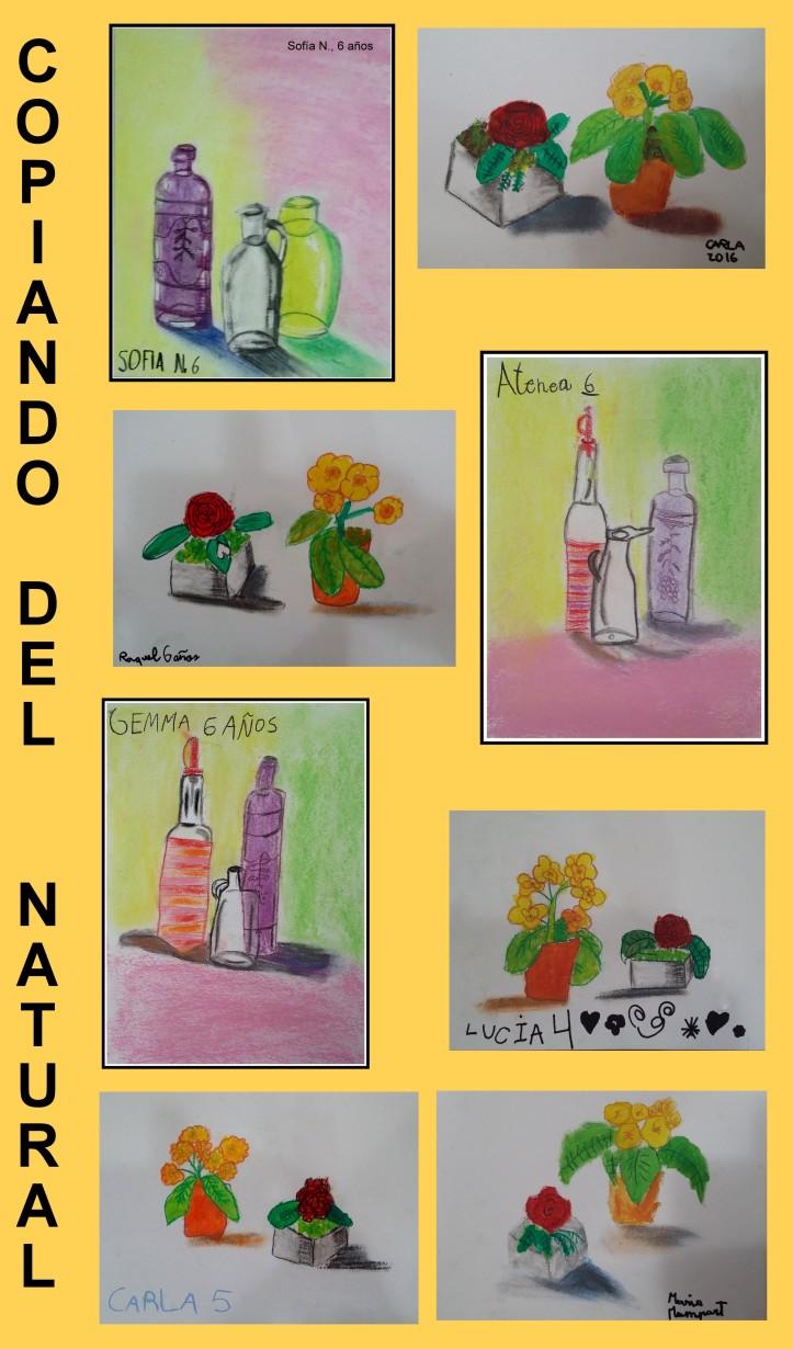 dibujos pintados de natural bodegones por niños