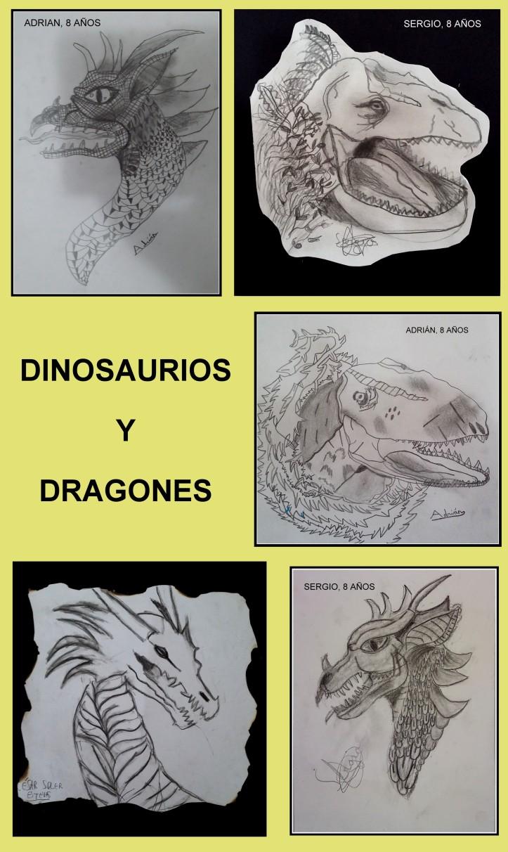 dragones y dinosaurios dibujados en carboncillo por niños