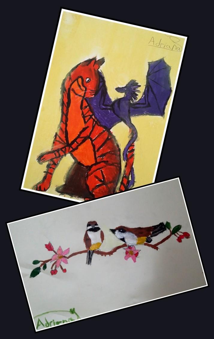 Adriana 8 años dibujo de pajaros gato  y dragon en temperas