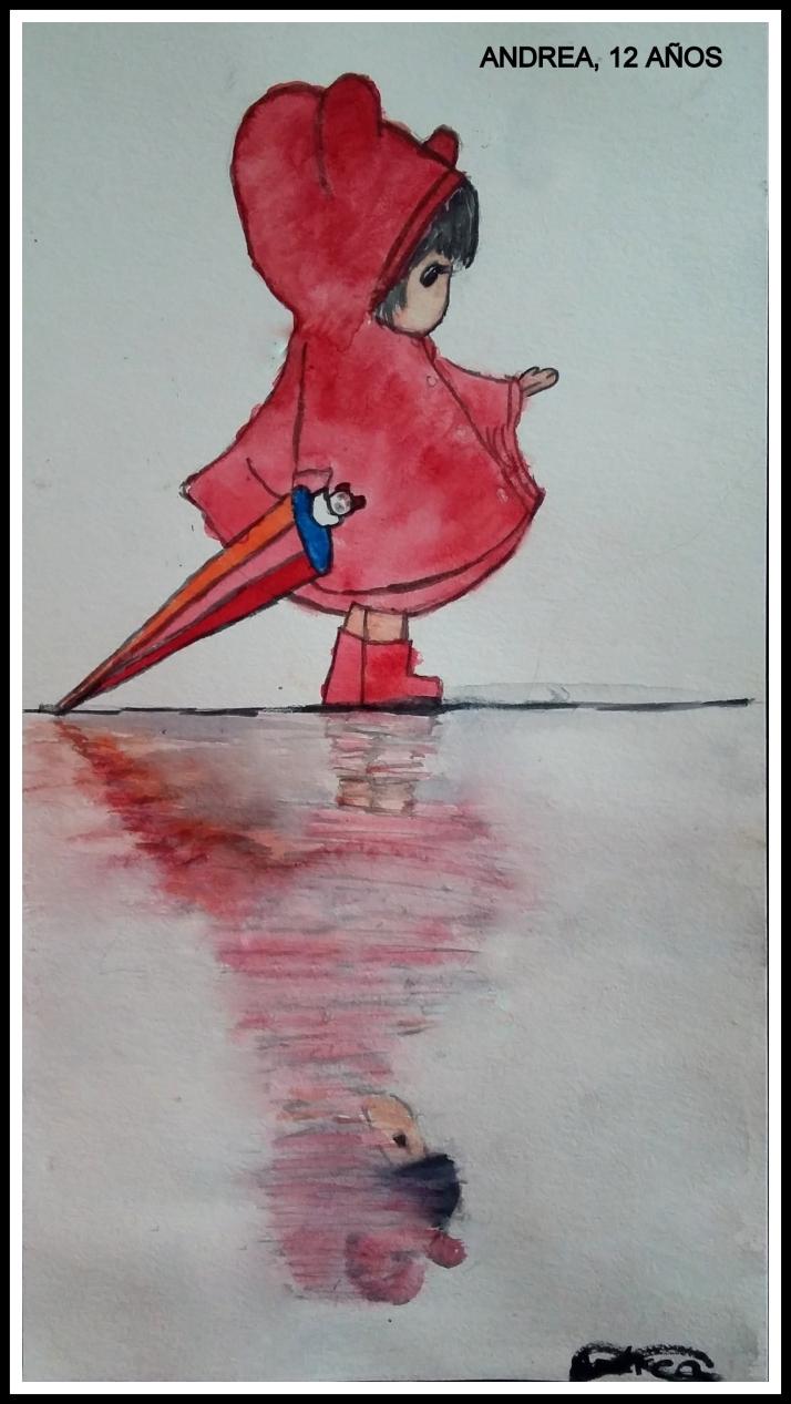Andrea 12 años pinta reflejos agua en acuarela