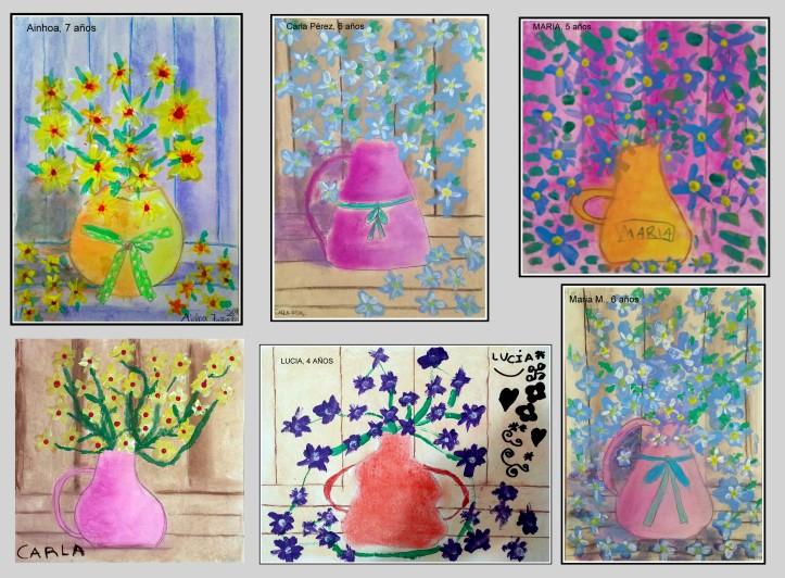 bodegon jarron con flores pintado por niños de 4 a 6 años en tempera y pasteles