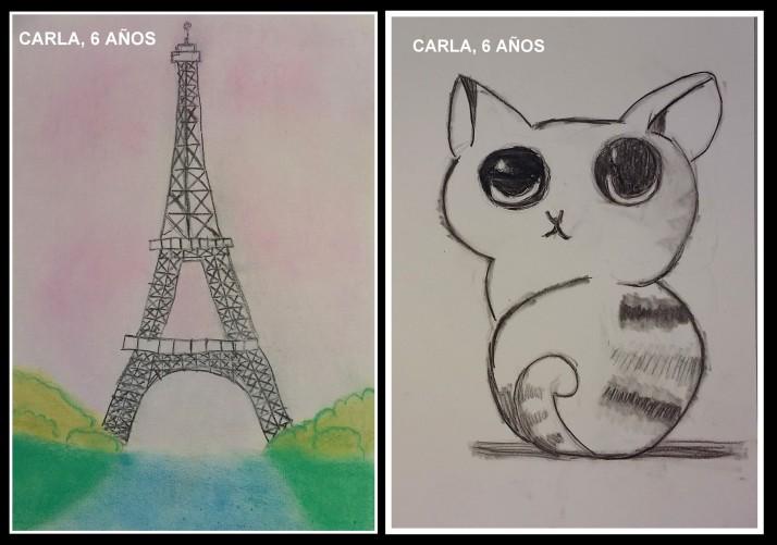 carla 6 años pinta torre eiffel y animales carboncillo para niños