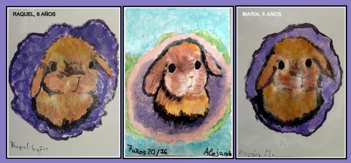 Cuadros conejos en oleo acrilico pintados por niñas
