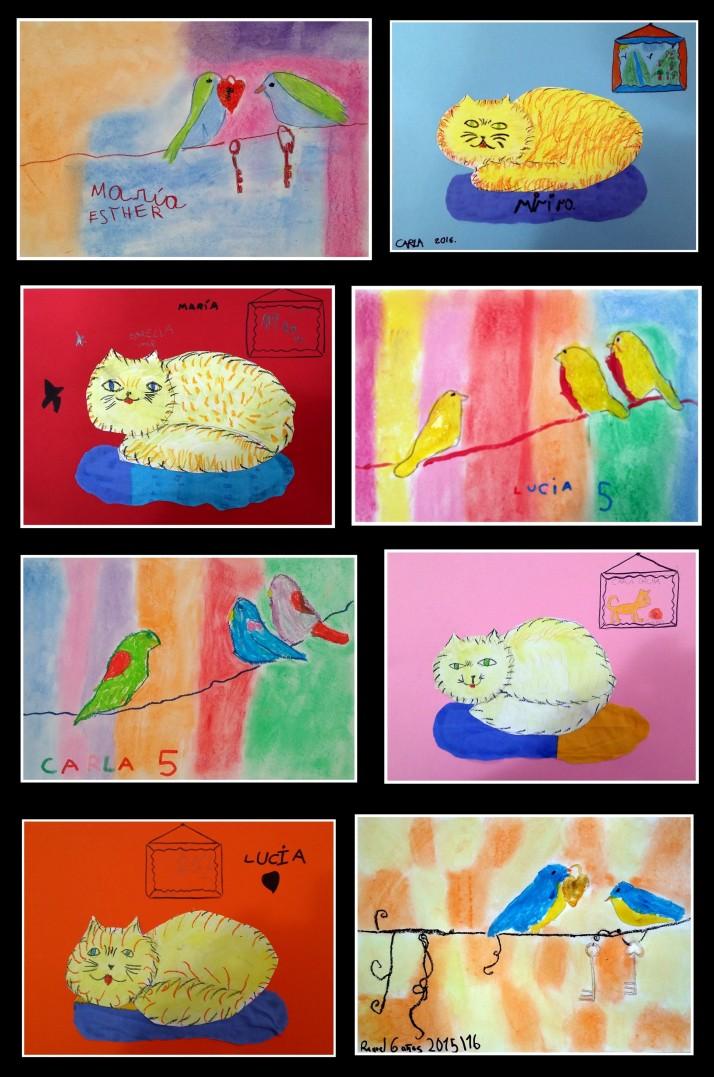 Cuadros de animales en acuarela realizados por niños 4 a 7 años en academia pintura torrejon de ardoz
