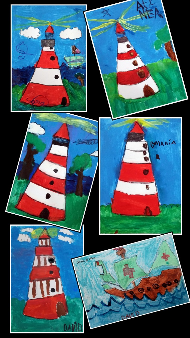 dibujos de faros y barcos hechos por niños en temperas