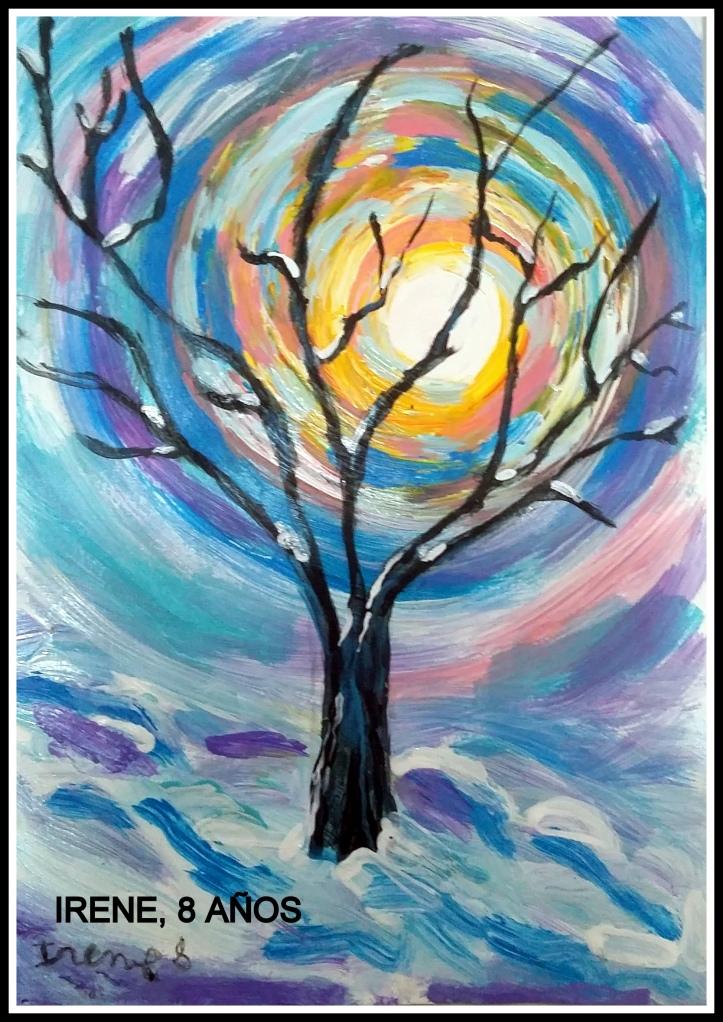 Irene 8 años pinta cuadro con arbol en oleo acrilicos fantasia