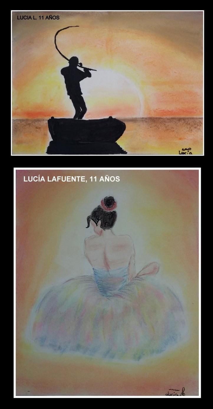 Lucia L 11 años pinta puesta de sol y bailarina con pasteles academia pintura niños torrejon de ardoz.jpg