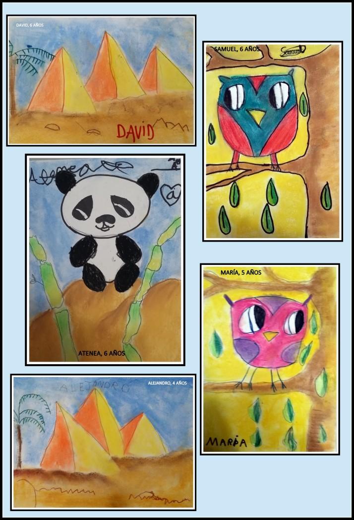 piramides y animales pintados con ceras  por niños