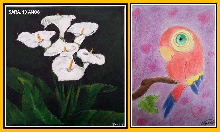 Sara 10 años pinta calas con oleo y loro con pasteles academia pintura niños torrejon de ardoz