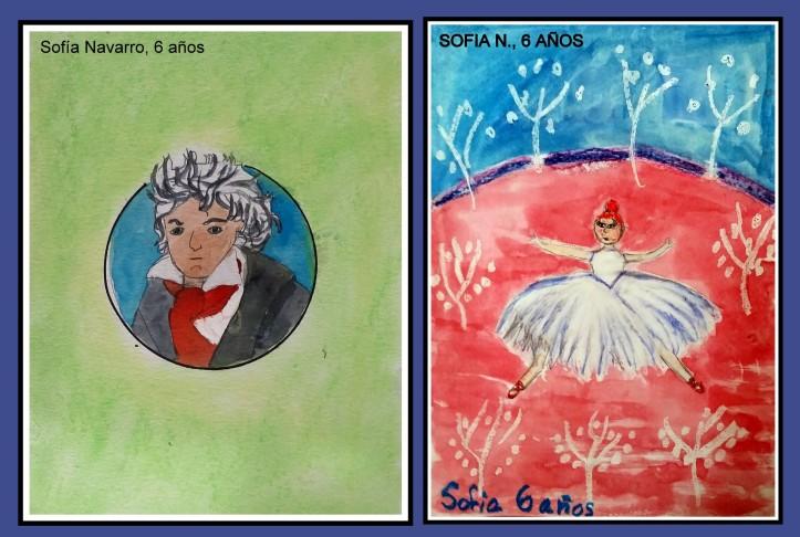 Sofia N 6 años pinta bethoveen y bailarina con acuarela y  pasteles academia pintura niños torrejon de ardoz