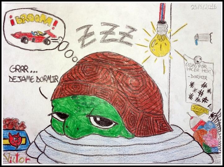 Victor 9 años pinta  comic tortuga