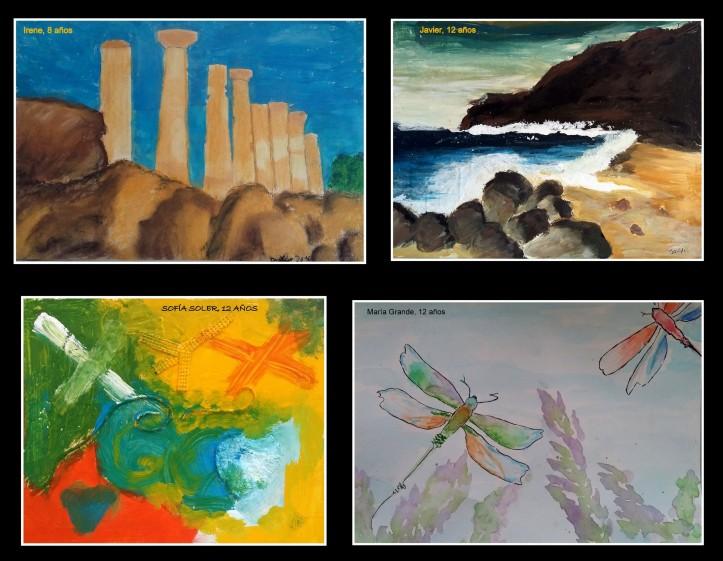cuadros-ruinas-grecia-playas-antonie-tapies-y-libelulas-en-oleo-acurela-tempera-arte-infantil