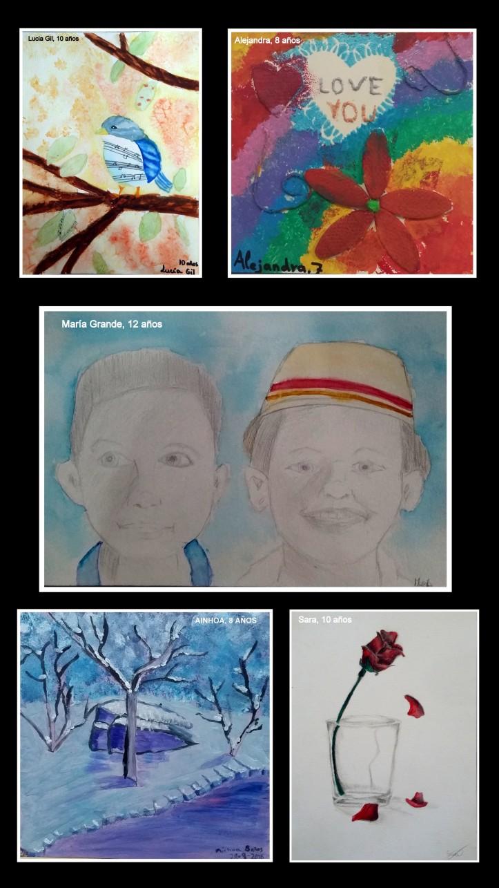 retrato-pajaros-abstracto-paisaje-nevado-y-flores-pintados-al-oleo-y-acuarela-por-ninos-arte-infantil-torrejon-de-ardoz