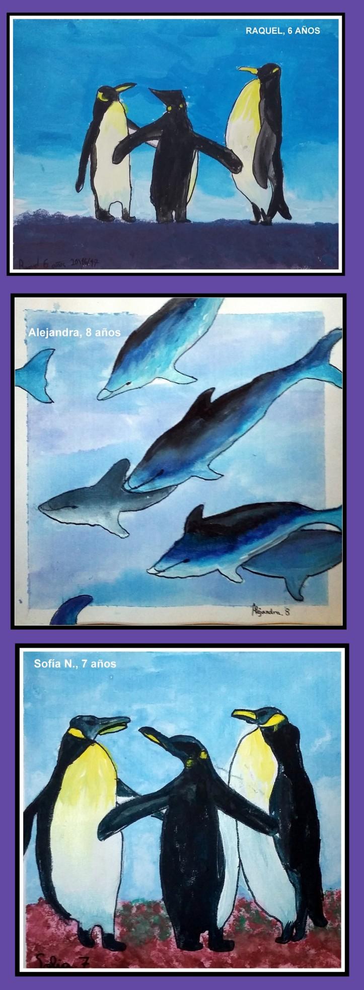 delfines-y-pinguinos-pintados-en-temperas-y-acuarela-por-ninos-clases-de-pintura-para-ninos-en-torrejon-de-ardoz