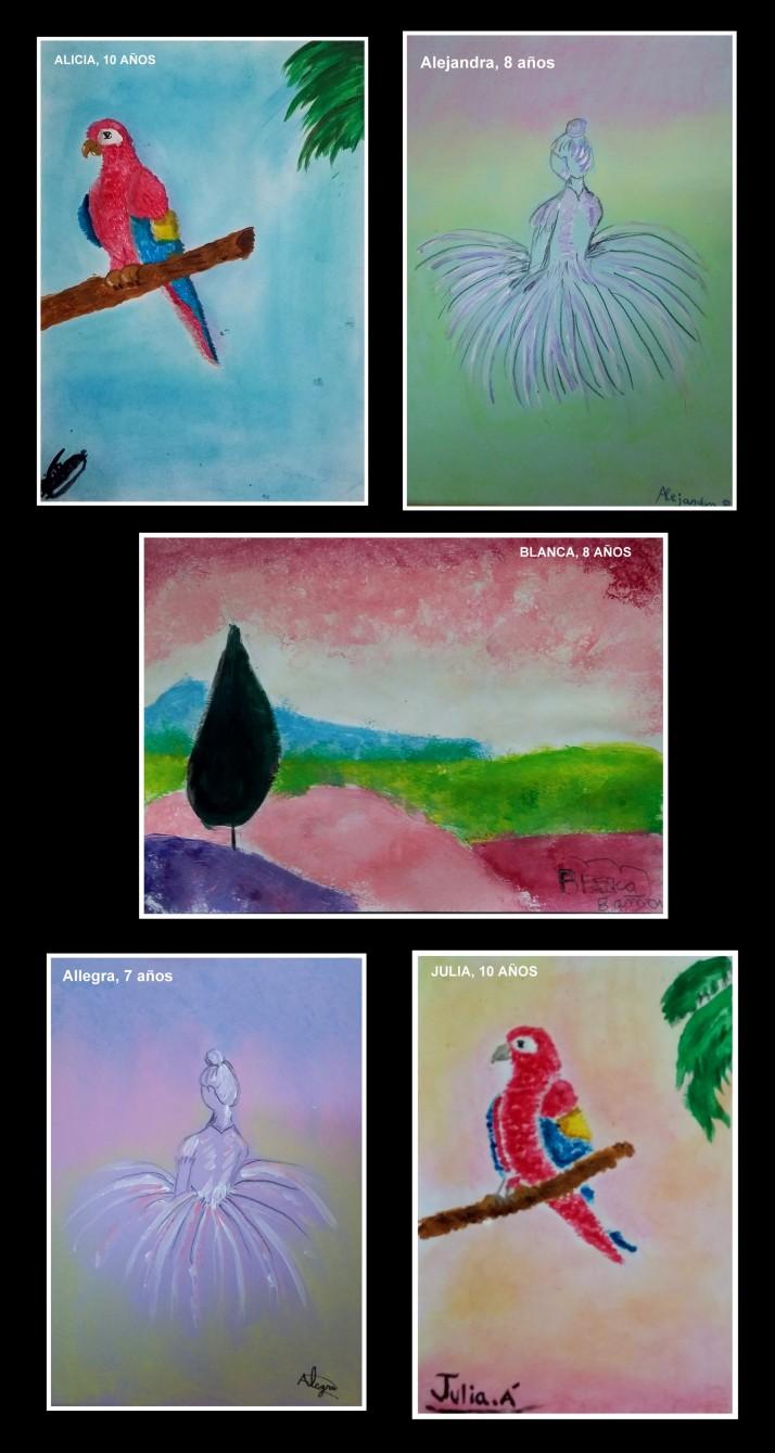 dibujos-de-loros-bailarina-y-paisajes-en-pastel-y-acrilico-hechos-por-ninos-taller-arte-infantil-torrrejon-de-ardoz