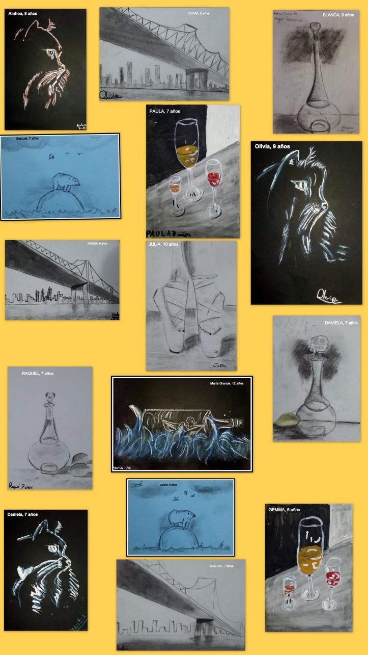 dibujos-hechos-por-ninos-en-blanco-sobre-negro-y-en-carboncillo-de-perspectiva-y-animales-y-vasos-de-cristal