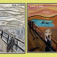 EL GRITO DE MUNCH EN DOS VERSIONES DISTINTAS- Julia y Alicia, 10 años