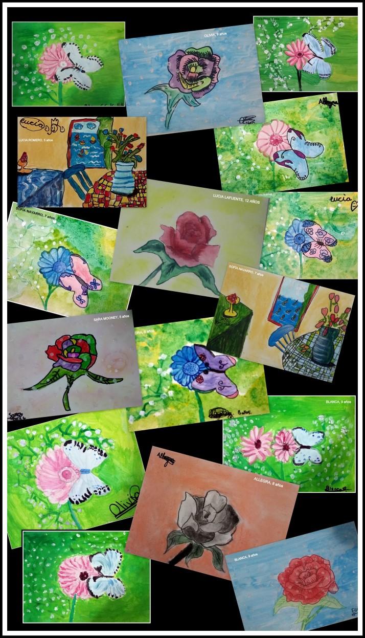 exposicion-dibujos-de-ninos-de-primavera-y-flores-en-acuarela-y-tempera