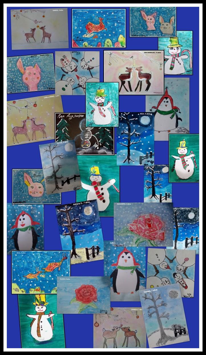 exposicion-dibujos-navidad-ninos-renos-y-paisajes-y-munecos-de-nieve