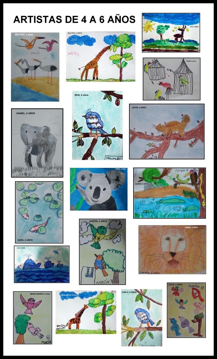 cuadros-de-animales-pintados-por-ninos-de-4-a-6-anos