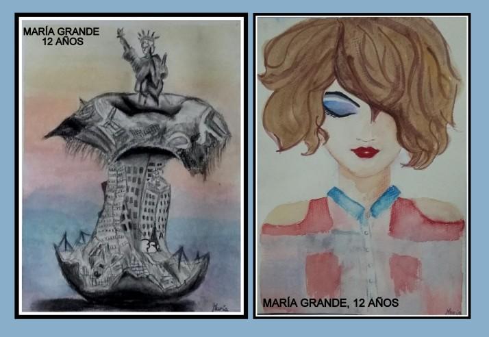 dibujos-estatua-libertad-y-retrato-en-acuarela-y-carboncillo-por-ninos-de-12-anos