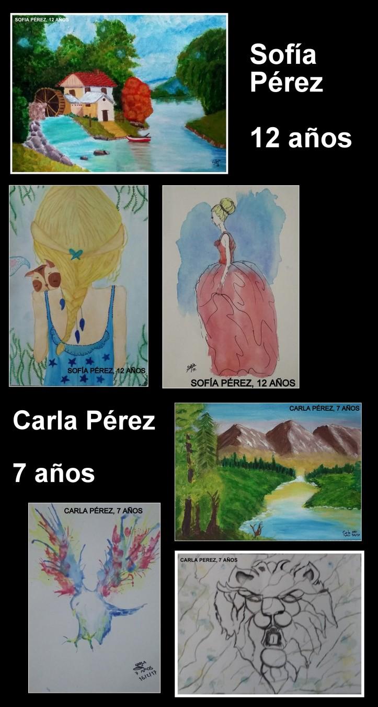 Paisajes al oleo y de animales y personas pintados por niñas de 7 a 12 años