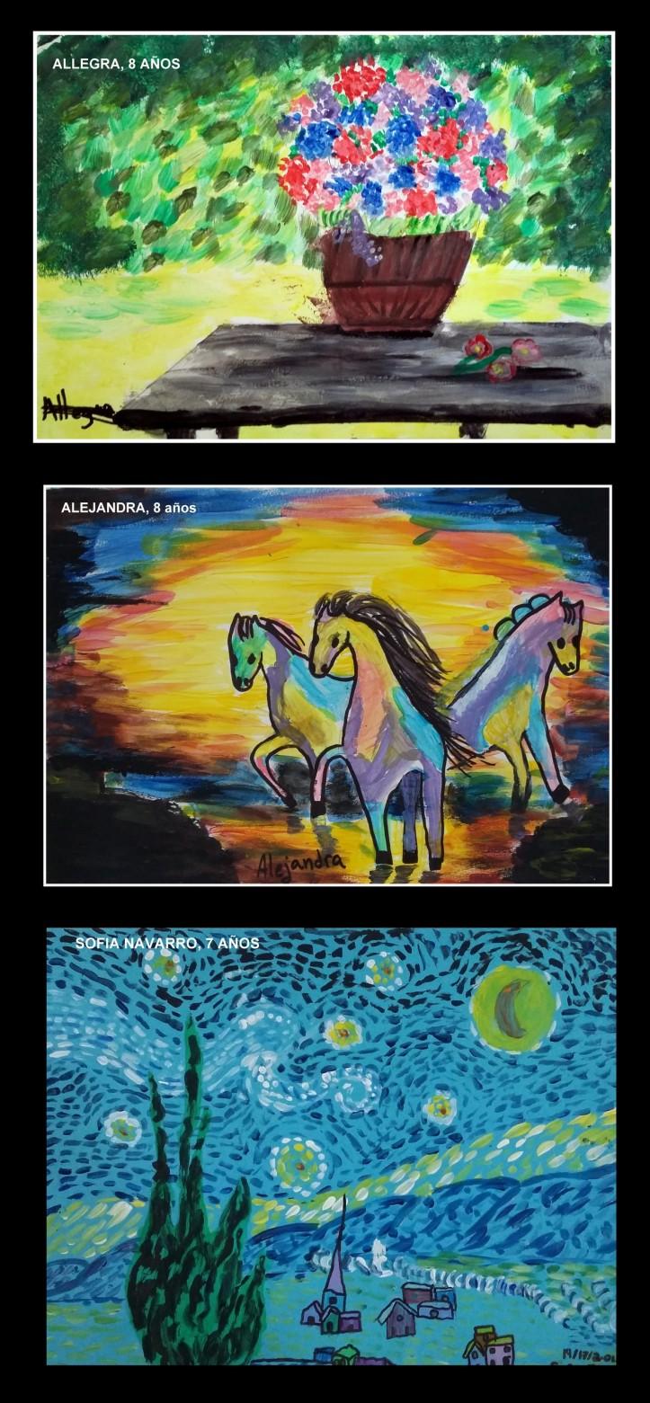 van gogh flores y caballos pintados por niños de 7 y 8 años