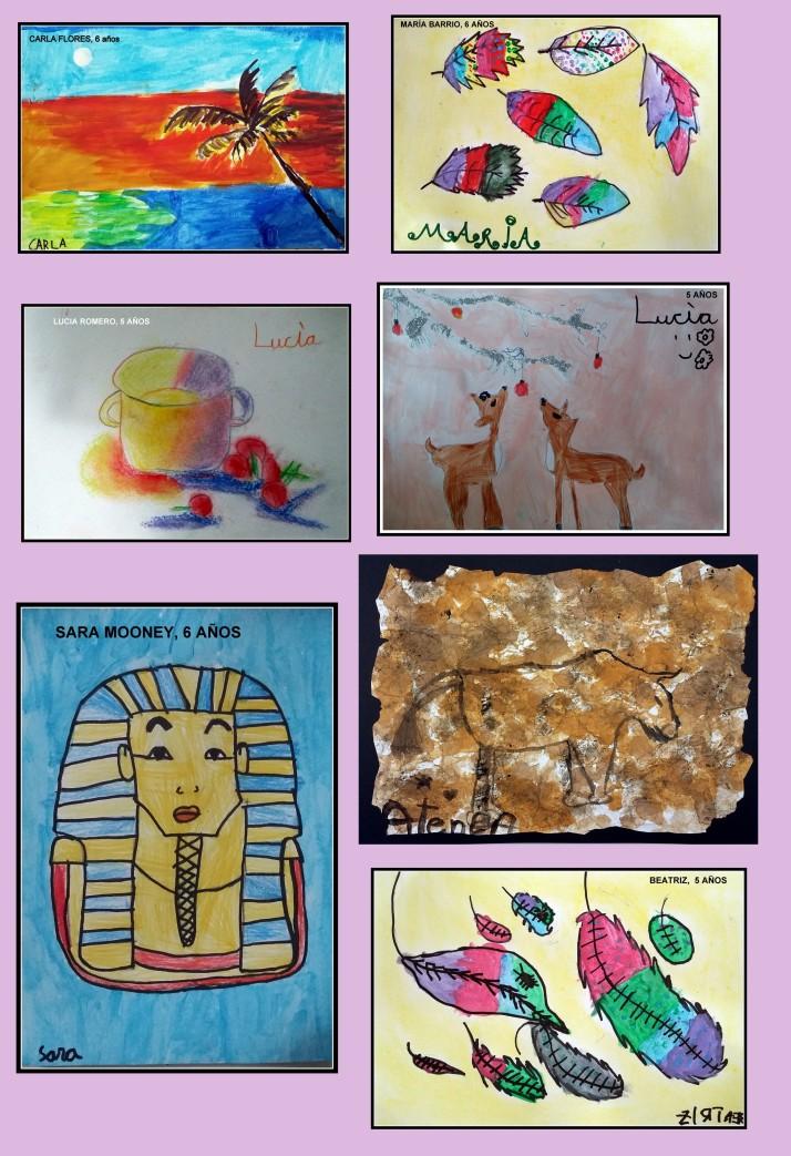 DIbujos de los niños de 4 a 7 años sobre egipo y la prehistoria