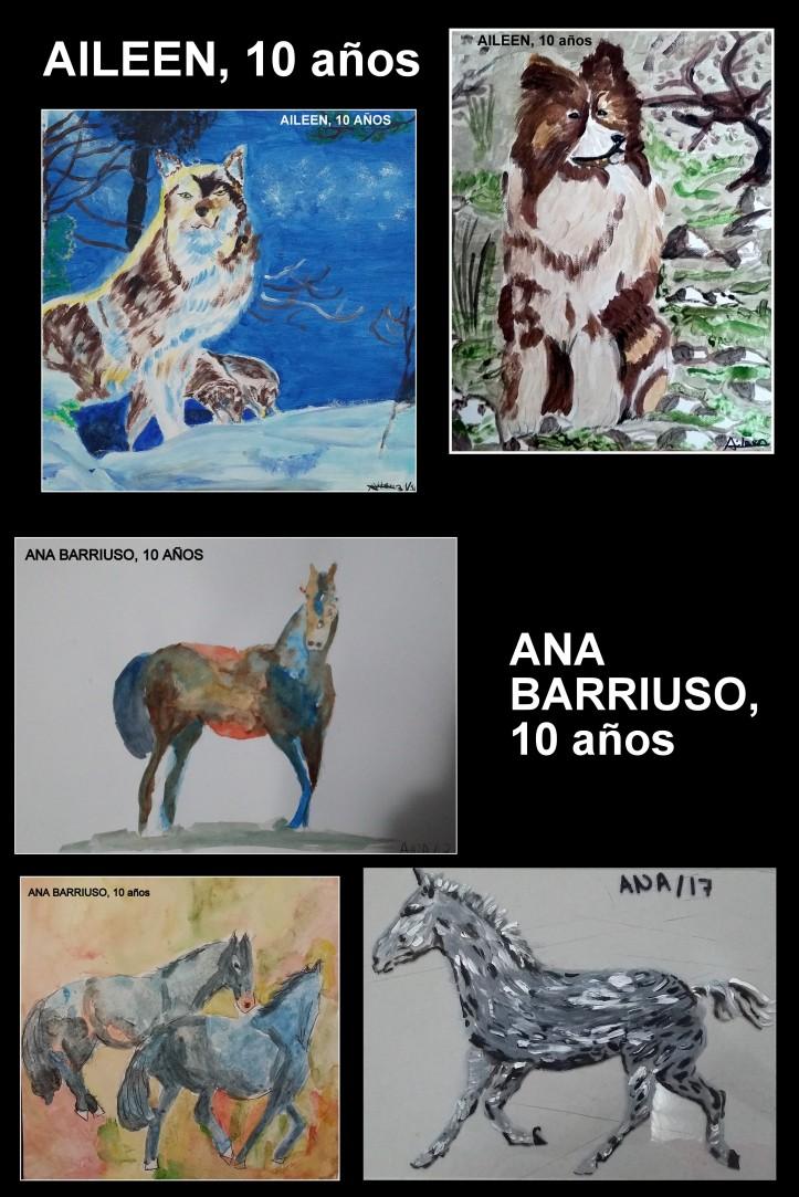 Caballos y perros pintados por niños en oleo y acuarelaa
