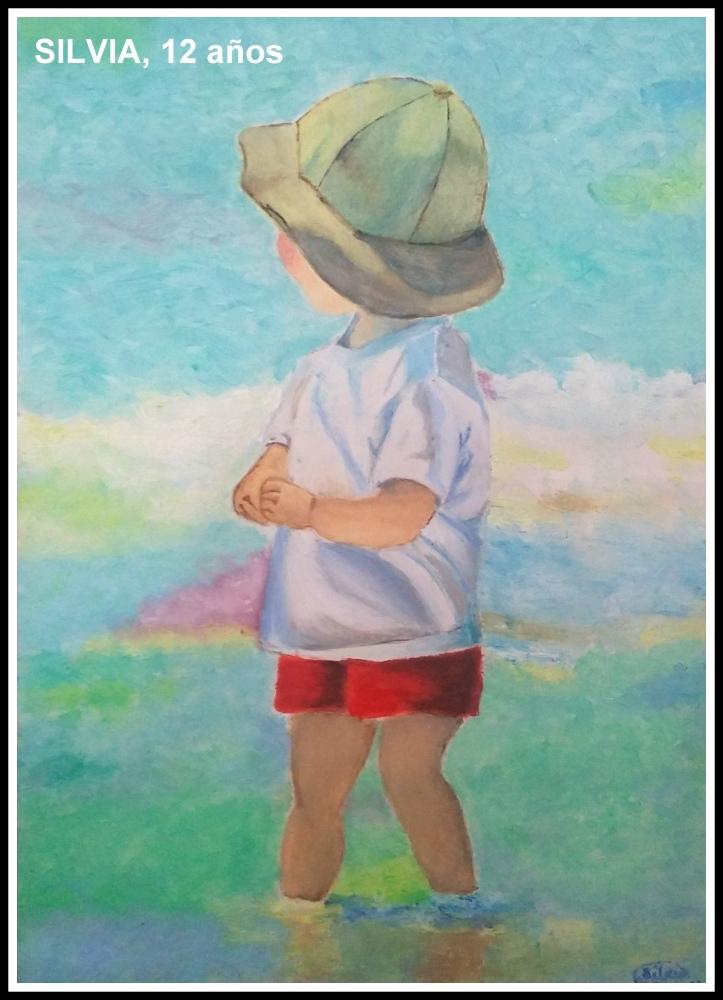 Niño en la playa pintado en oleo