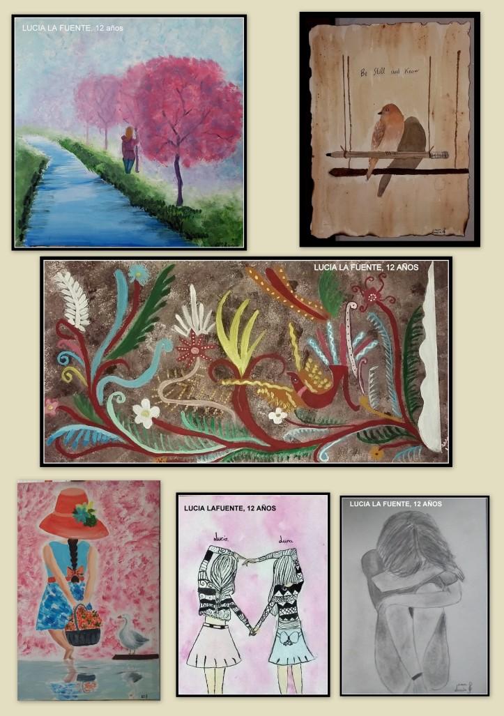 paisajes y bailarinas pintados en espatula y acuarela por niños