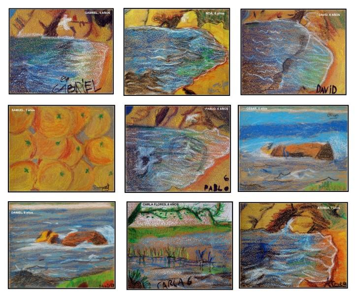pintar sobre papel de lija clases de pintura para niños en Torrejon de Ardoz