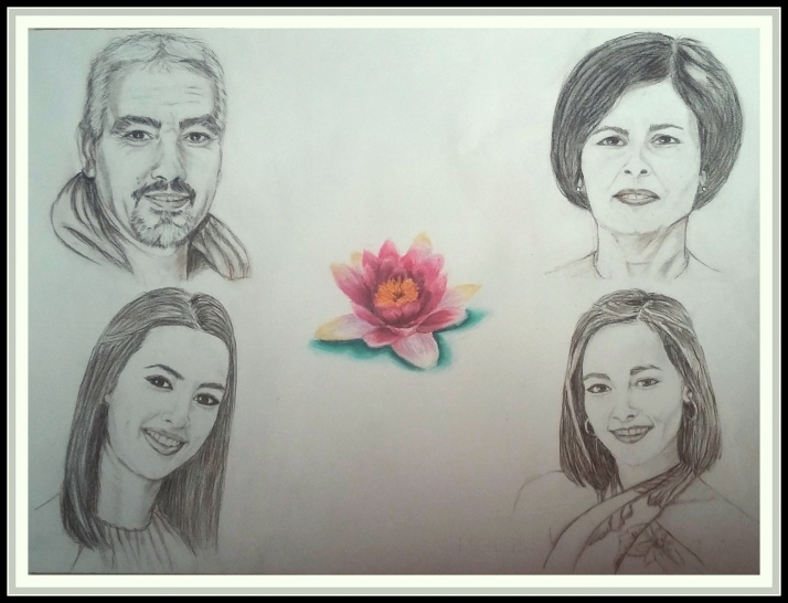retrato familiar en carboncillo por Cristina Estevas encargos en Torrejon de Ardoz