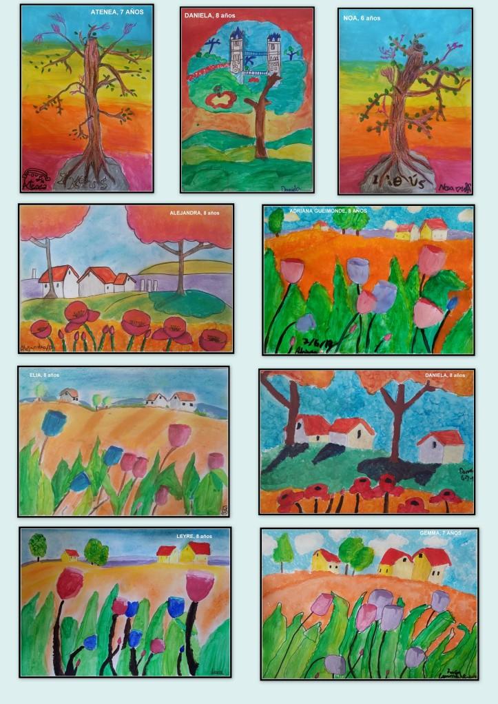 Dibujos de campo y arboles en tempera y pastel realizados por niños