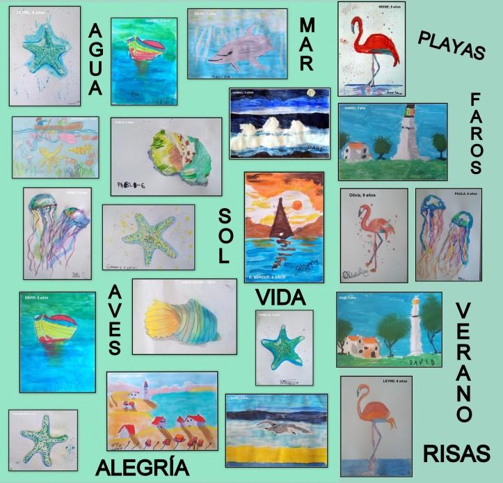 dibujos sobre el mar conchas delfines medusas y estrellas de mar hechos por niños