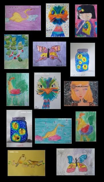 dibujos hechos por niños en acrilico tempera ceras y pastel en clases de pintura torrejon de ardoz