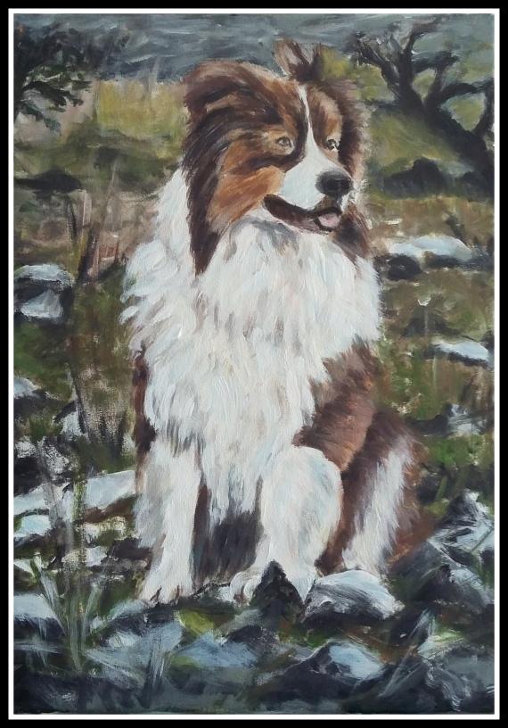obras de cristina estevas retrato de perro al oleo